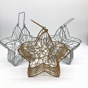 Christmas Star Wire Baskets w/handles Set of 3